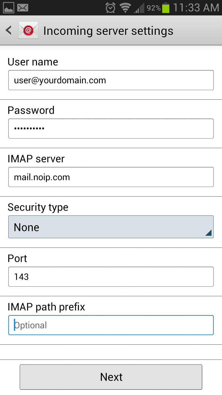 Setting up pop imap email on an android jellybean - Smtp and pop3 port number ...