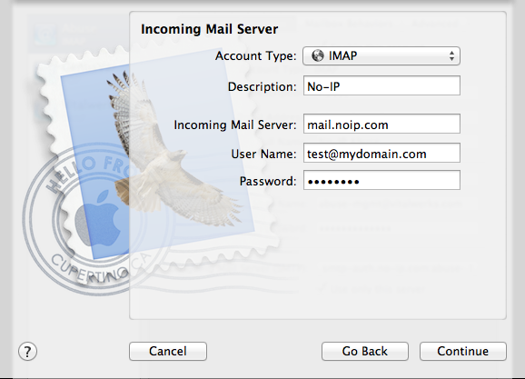 Setting up POP/IMAP on Mac OS X 10.8.x with Mail App Image 1