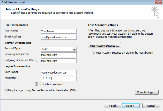 Configuring Microsoft Outlook For Use With No-IP POP/IMAP Service Image 6