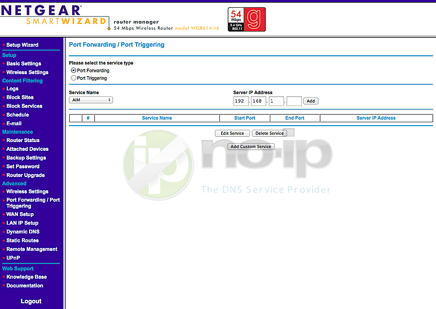 Wireless Internet Service Provider >> Port Forwarding on the Netgear WGR614 v6 Router