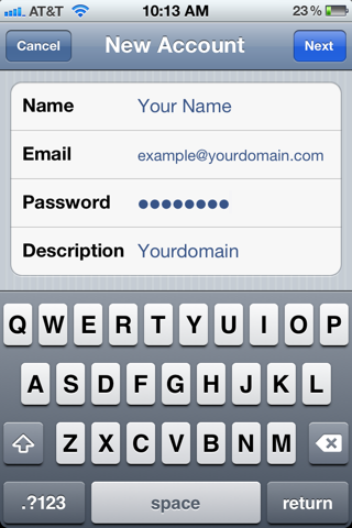 Setting up POP/IMAP email on an iPhone Image 1