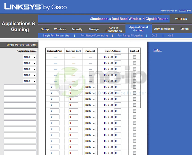 Linksys Router Ip >> Port Forwarding On A Linksys Wrt610n Router