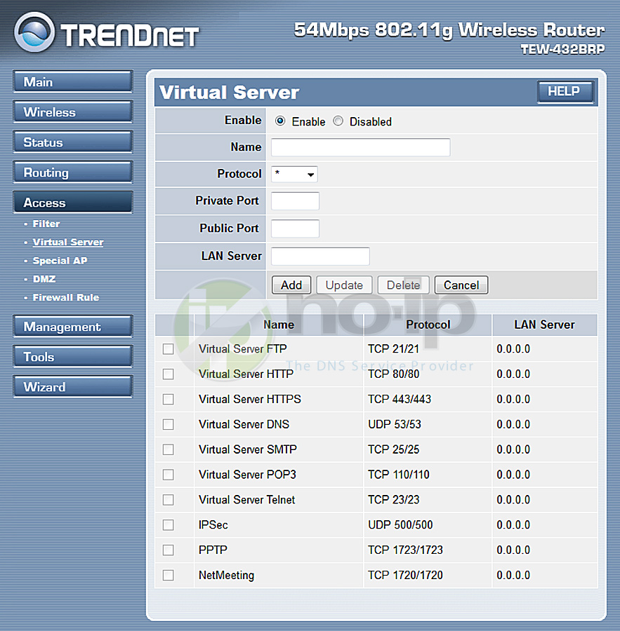 trendnet 432brp router port forwarding screenshot