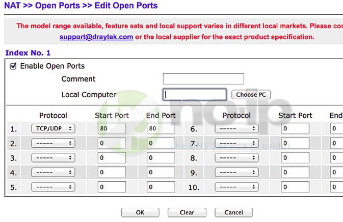 Port Forwarding a Vigor2110 - V3.3.6 router Image 2