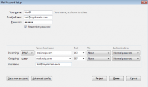 Thunderbird Account Settings with Ports