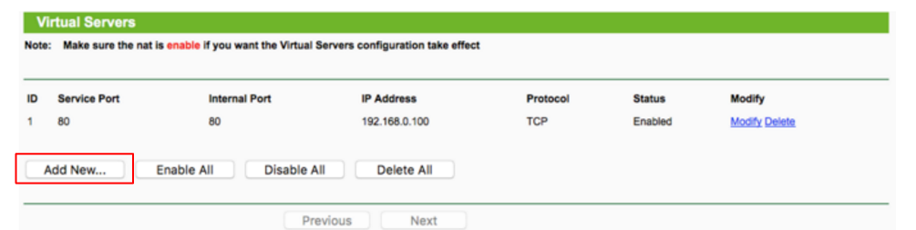 minecraft server port forwarding tp-link
