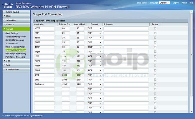 Port Forwarding on a Cisco RV110W Firmware 1 2 0 9